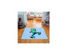 Tapis carré velours antidérapant imprimé animaux jack - 135 x 135 cm