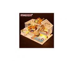 Maison miniature bricolage 3d en bois meubles led maison puzzle décorez cadeaux creative jouets éducatifs chaingzi 636