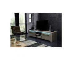 Vivaldi meuble tv - manhattan - 140 cm - chêne sonoma clair avec led - style moderne