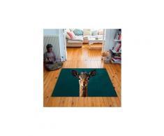 Tapis carré velours antidérapant imprimé animaux little fawn - 135 x 135 cm