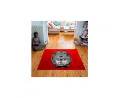 Tapis carré velours antidérapant imprimé animaux quenotte - 135 x 135 cm