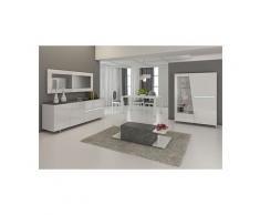 Salle à manger complète blanc laqué décor ardoise design julia