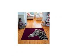 Tapis carré velours antidérapant imprimé animaux zebra - 135 x 135 cm