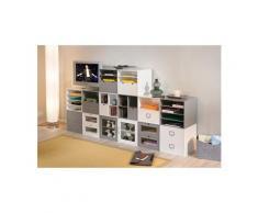 Bloc rangement trieur box classeur cube modulable boîte casier vitré mdf blanc