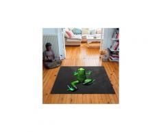 Tapis carré velours antidérapant imprimé animaux pow - 135 x 135 cm