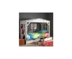 """Lit enfant """"cabane"""" home & 2 tiroirs de lit blanc"""