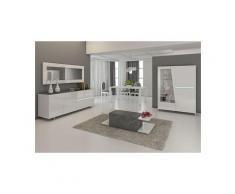 Salle à manger complète blanc laqué décor ardoise design joshua