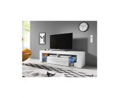 Vivaldi meuble tv - everest - 160 cm - blanc mat / blanc brillant avec led - style design