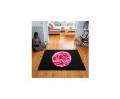 Tapis carré velours antidérapant imprimé floraux pink rose - 135 x 135 cm