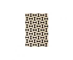 Tapis moderne design géométrique 140 x 200 cm beige / noir