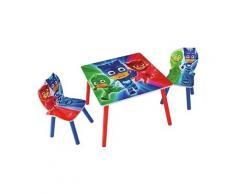 Ensemble table et 2 chaises pour enfant motif pj masks -pegane-