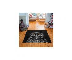 Tapis carré velours antidérapant imprimé animaux edgar - 135 x 135 cm