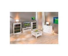 Petite étagère bibliothèque rangement cuisine séjour campagnard pin massif blanc