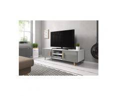 Meuble tv design en panneaux de particules coloris blanc mat / gris - dim : 140 x 42 x 50 cm -pegane-