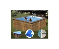 Kit piscine bois sunbay carra 3,00 x 3,00 x 1,19 m + bâche hiver + bâche à bulles + alarme