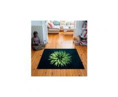 Tapis carré velours antidérapant imprimé floraux yucca - 135 x 135 cm