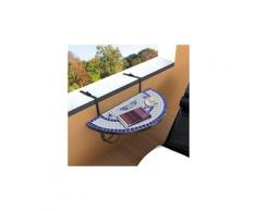 Icaverne - tables de jardin esthetique table suspendue de balcon bleu et blanc mosaïque