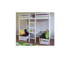 Lit pour enfant blanc avec bureau, table et coussin d'assise noir - Dim : L 97 x P 208 x H 180 cm