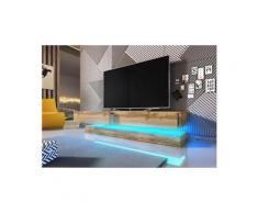 Vivaldi meuble tv - fly - 140 cm - chêne wotan avec led - style moderne