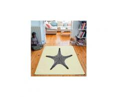 Tapis rectangulaire velours antidérapant imprimé animaux star fish - 135 x 200 cm
