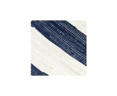 Icaverne - sets de table magnifique napperons 6 pcs chindi bande bleu et blanc 30 x 45 cm
