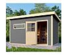 WoodFeeling Sauna extérieur SUVA 3 bois laqué gris avec vestibule 6 à 7 places 38mm Woodfeeling