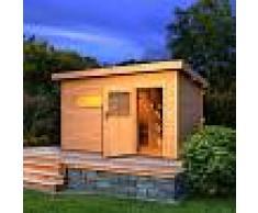 WoodFeeling Sauna extérieur SUVA 3 bois naturel avec vestibule 6 à 7 places 38mm Woodfeeling