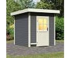 WoodFeeling Sauna d'extérieur TAINA en bois laqué gris 38mm 5 à 6 places Woodfeeling