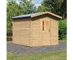 WoodFeeling Sauna extérieur BIRKA 1 en bois naturel avec vestibule 6 à 7 places 38mm Woodfeeling