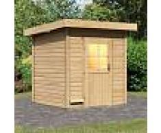 WoodFeeling Sauna d'extérieur TAINA en bois massif 38mm 5 à 6 places Woodfeeling