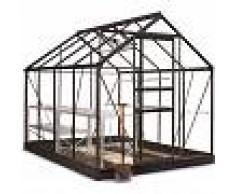 Halls Pack serre de jardin 5m² NOIRE et verre Popular + embase noire Halls