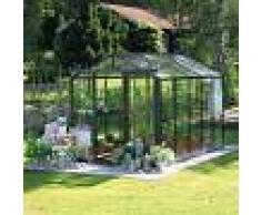 Lams Serre de jardin ESSENTIA 8,97m² en aluminium laqué et verre trempé 4mm + embase incluse - Lams