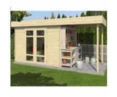 Abri de jardin en bois + avancée MERCURE 6 m² - 28 mm