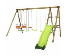 Portique en bois TALVI Trigano 2,30 m. + toboggan 7 enfants
