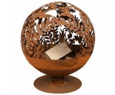 Esschert Design Brasero Fire globe en métal Fleur 58