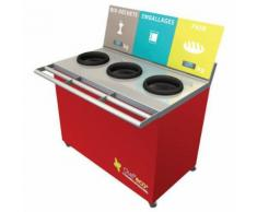 table de tri 3 collecteurs sans pesée t enfant h.760mm rouge,