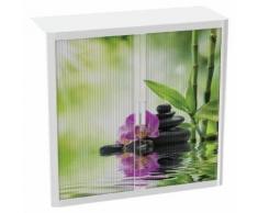 armoire easy office hauteur 104 cm corps blanc rideaux bambou,