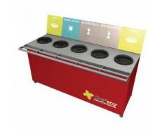 table de tri 5 collecteurs sans pesée t enfant h.760mm rouge,
