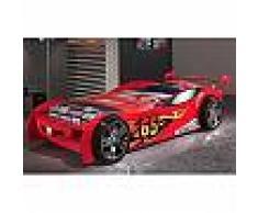 Lit voiture 246,6 x 111 x 66 cm coloris rouge