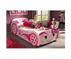 Lit voiture 213 x 68,3 x 101,4 cm coloris rose