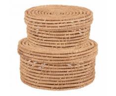 2 boîtes rondes en fibre de palmier