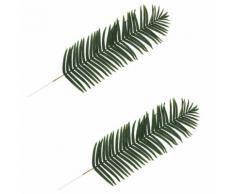 vidaXL 2 pcs Feuilles artificielles de palmier Vert 160 cm