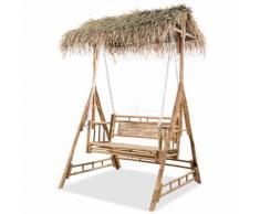 vidaXL Balançoire à 2 places avec feuilles de palmier Bambou 202 cm