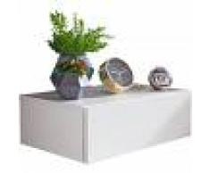COMFORIUM Table de chevet fixation murale coloris blanc avec 1 tiroir L. 46 x P. 30 x H. 15 cm collection C-Seyyid