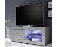 Kasalinea Meuble TV lumineux 140 cm design effet béton gris ARIEL 4