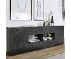 Kasalinea Enfilade gris laqué design 2 portes 4 tiroirs NINO 2