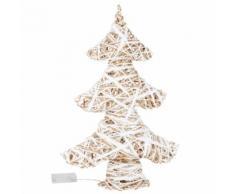 Déco de Noël sapin lumineux coloris blanc et naturel