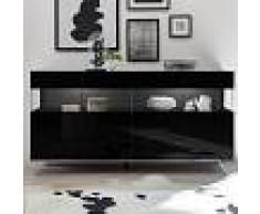NOUVOMEUBLE Enfilade LED 4 portes design noir laqué CASTELLI 6