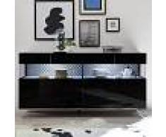 NOUVOMEUBLE Buffet lumineux 4 portes design noir CASTELLI 7