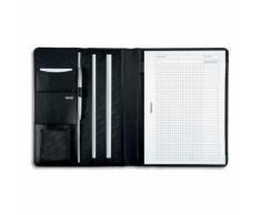 Conférencier Juscha Cremona cuir - 32 x 25 x 2 cm - avec bloc-notes et pochettes multiples - noir